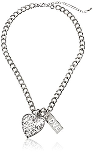 UPC 022892255207, Wearable Art Silver-Tone Cable Chain Necklace with Filigree Heart and Love Pendants Set