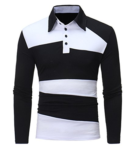 Price comparison product image LemonGirl Men's Long Sleeve Color Blocks Polo Shirts Tee Tops