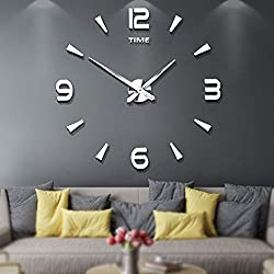 Frameless Large 3D DIY Wall Clock Mute Mirror Stickers Home Office School Decoration(2-Year Warranty) (Silver-015)