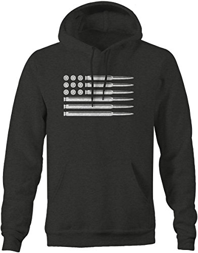 AR15 5.56 Rifle Bullets American Flag Gun Rights Mens Sweatshirt - 2XL Army Grey Hooded Pullover Sweatshirt