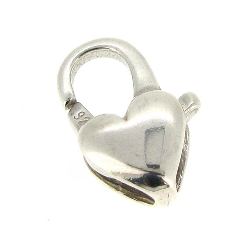 - 1 pc Italian .925 Sterling Silver Oval Heart Trigger Lobster Clasp 7mm x 13mm / Findings / Bright Silver