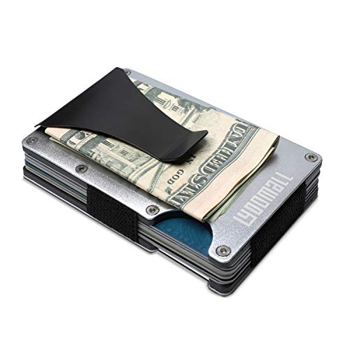 (YOOMALL Minimalist Wallet with Money Clip Aluminum Credit Card Holder Slim Front Pocket RFID Blocking)