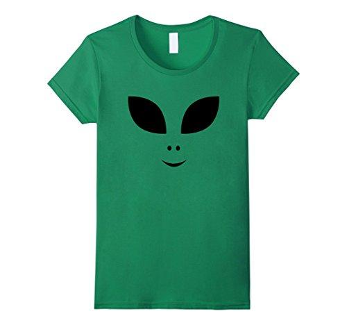 Womens Cute Alien Face Halloween Costume T-Shirt Large