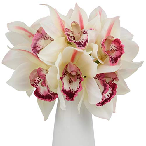 Rinlong Artificial Cymbidium Orchid Silk Flowers White 6pcs for Floral Arrangement Home Wedding Party -