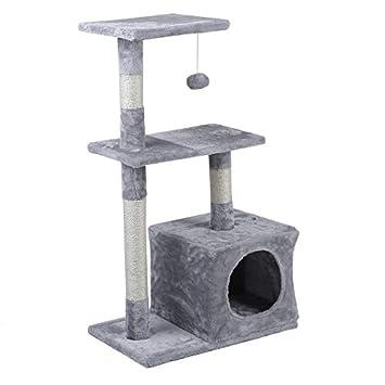 Olasea Árbol para Gatos Rascador con Nido Plataforma Cuerda de Juego 85 CM Gris Claro: Amazon.es: Productos para mascotas