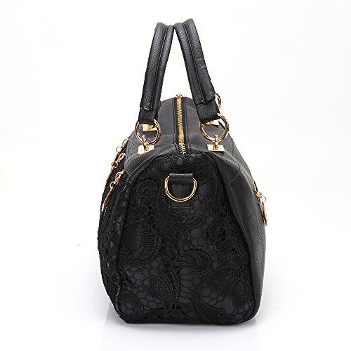 b2426d2ca185 Annymall Women Designer PU Leather Tote Handbags Purses Shoulder Clutch  Hobo Bag (ANDI ROSE Black