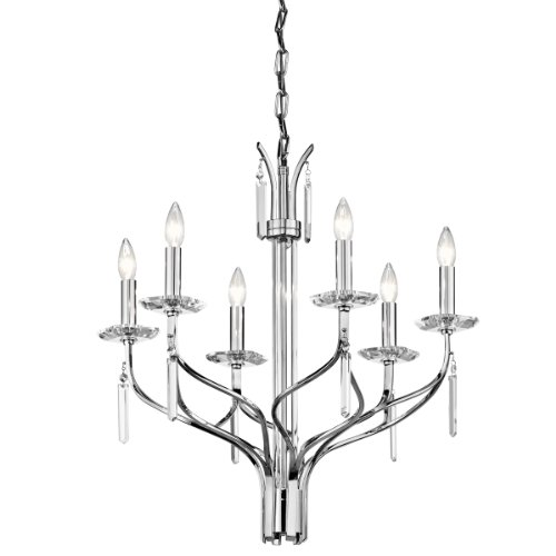 (Kichler  42927CH Aliso 6-Light Chandelier, Chrome Finish with Crystal Accents)