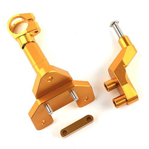 SMOKU MOTOR CNC Adjustable Steering Stabilize Damper Bracket Mounting kit for YAMAHA R25 R3 MT-25 2014-2016(Gold) -