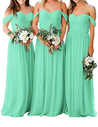 - Bridesmaid Dress Wedding Party Gown Formal Off Shoulder Chiffon Ruched Maxi Long Turquoise US 10