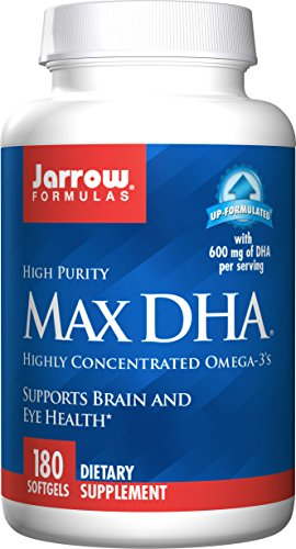 Jarrow Formulas Max DHA , Supports Brain and Eye Health, 180 Softgels