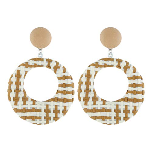 Orcbee  _Bohemian Style Wood Bamboo Rattan Geometric Round Earrings Ladies Jewelry - Gold Ring Diva Round Yellow