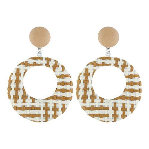 Orcbee  _Bohemian Style Wood Bamboo Rattan Geometric Round Earrings Ladies Jewelry (Yellow) Diva Yellow Gold Round Ring