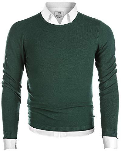 MOCOTONO Men's Long Sleeve Crew Neck Pullover Knit Sweater Dark Green Large
