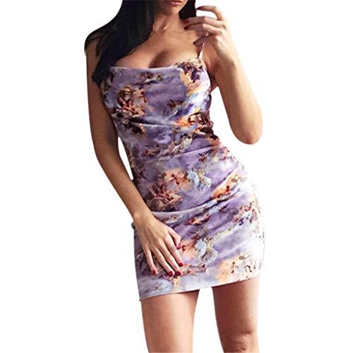 JHKUNO Women Dresses, Women's Summer Sesy Sling Strapless Angel Print Tight Thigh Length Club Party Mini Skirt Purple