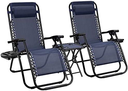 Devoko Patio Zero Gravity Chair Outdoor Folding Recliner Chair