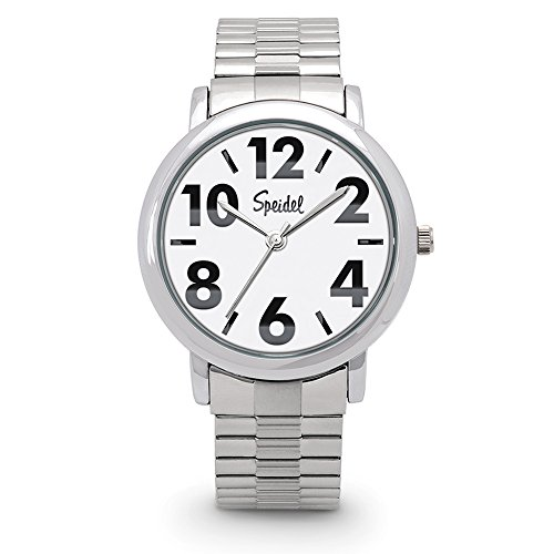 Speidel Men's Bold Face Watch Featuring Easy to Read Large Numerals, a Second Hand, 3ATM Water Resistance, White Dial and a Twist-O-Flex Stainless Steel Expansion Watchband - 603398002 (White Dial Polished)