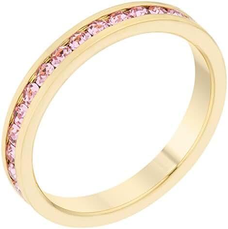 Stylish Birthstone Stackables Swarovski Crystal By Kate Bissett Pink Gold -October Size 7