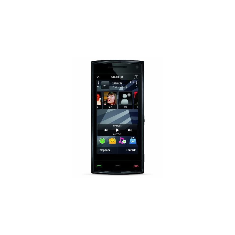 Nokia X6 Unlocked GSM Phone with 5 MP Camera, Capacitive Touch, and 8 GB Memory (Black Cap)