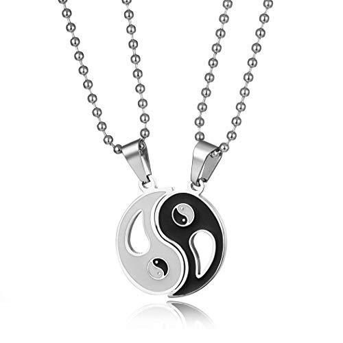 Collar de acero inoxidable retro Yin Yang colgante hombres mujeres rompecabezas parejas collar