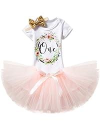 75cdd16b14 Baby Girl 1st Birthday 3pcs Unicorn Outfits with Headband & Romper & Skirts