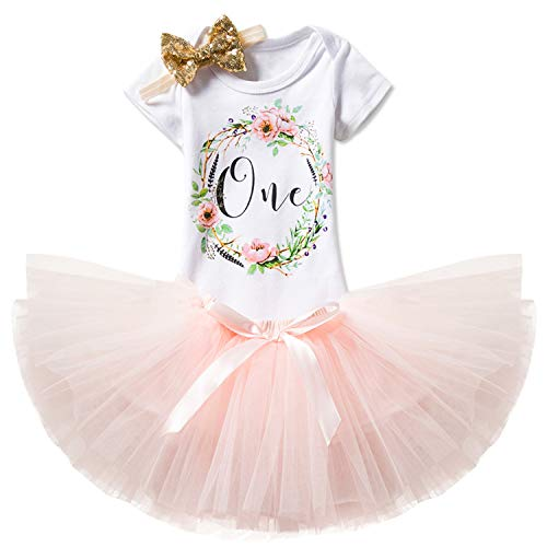 TTYAOVO Girl Skirt Newborn 3pcs Baby's 1st Birthday Set/Outfits with Romper + Tutu Dress + Headband Size 1 Years Peach(with Flower)