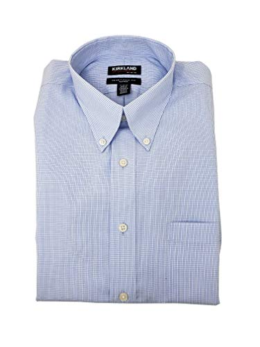 Kirkland Signature Men's Button Down Dress Shirt Traditional Fit (15.5-34/35, Light Blue  White Mini Check)
