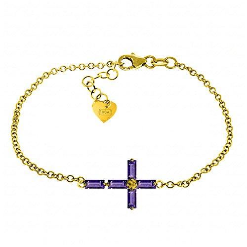 Amethyst Cross Bracelet in 14k Yellow Gold -