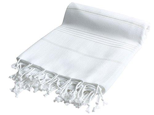 Pestemal Turkish Bath Towels 37×70 %100 CottonTM by Cacala White