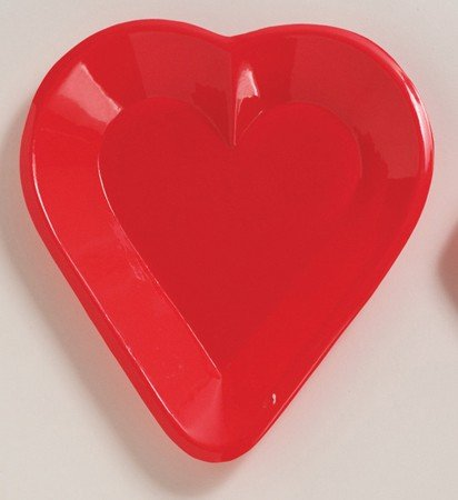 Club Pack of 24 Red Heart Disposable Plastic Card Night Party Mini Snack Trays 6""