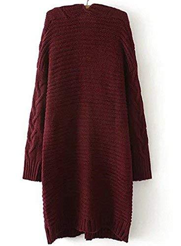 Invernali Monocromo Casual Comodo Donna Lunghe Autunno Fashion Maglia Maniche Con Tasche Outerwear Winered Relaxed Cappotto A Grazioso Eleganti Giacca Pullover O8n0Pwk