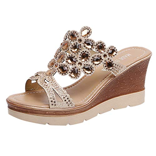 ◕‿◕Watere◕‿◕ Women Slippers,Bohemia Crystal Shoes Wedges Thick Peep Toe Sandals Mid-Heel Slippers Fish Mouth Slippers - Dawgs Fleece Womens