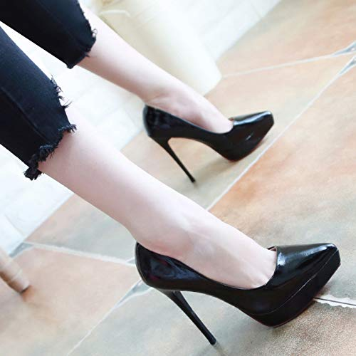Skinny Heels Shoes Autumn KPHY Women'S Black Skins Super 12Cm Thin Lacquer Sexy And Nightclubs High Eight Shallow Thirty Pointed Shoes In 757Ygqwxv