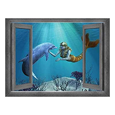 Elegant Object of Art, Open Window Creative Wall Decor Beautiful Drawing of a Mermaid and Dolphin Interaction Wall Mural, Made to Last