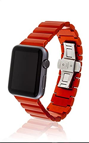 42mm JUUK Ligero Premium Apple Watch band, made with Swiss quality using the highest grade 6061 series aluminum with a solid stainless steel butterfly deployant buckle (matte Cadmium (Butterfly 7000)