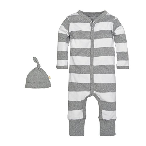 Burt's Bees Baby Baby Organic Coverall, Heather Grey Rugby Stripe, 0-3 Months