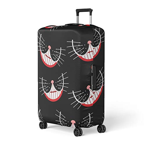 Semtomn Luggage Cover Hatter Cheshire Cat Smile Mad Pattern Party Alice Fairy Travel Suitcase Cover Protector Baggage Case Fits 18-22 Inch ()