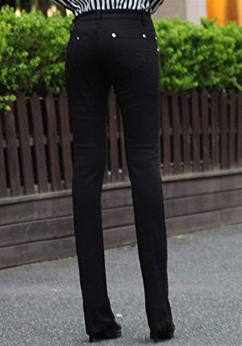 Color Pantalones Botón Sólido Con Mujer De Acampanados Casual Bolsillos Stretch Micro Casuales Schwarz Slim Fit Jeans Skinny xT0CrnSwTq