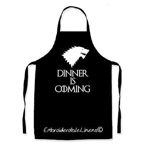 Dinner Is Coming Embroidered Apron By EmbroiderableLinens©
