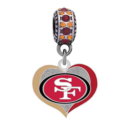 Final Touch Gifts San Francisco 49ers Swirl Heart Charm Fits European Style Large Hole Bead (Crystal San Francisco 49ers Bracelets)