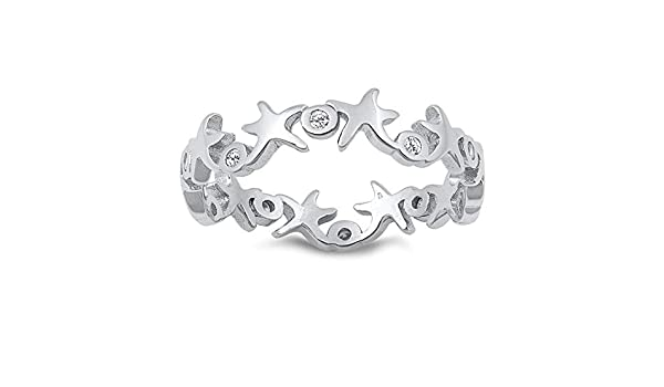 CloseoutWarehouse Clear Bezel Set Cubic Zirconia Alternating Stars Ring Sterling Silver