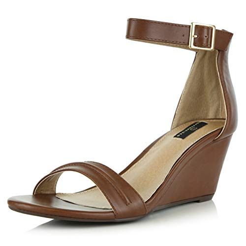 (DailyShoes Women's Summer Fashion Design Ankle Strap Buckle Low Wedge Platform Heel Sandals Shoes, Brown PU, 6 B(M) US )