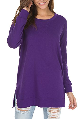levaca Womens O Neck Sweatshirt Side Split Loose Casual Plus Tee Shirts Purple ()