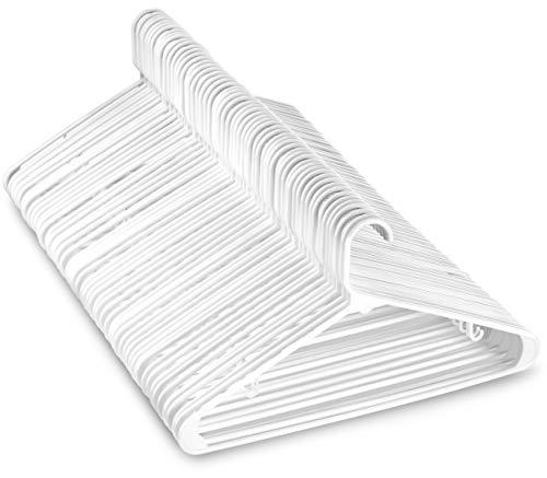 White Standard Plastic Hangers (60 PACK) Long Lasting Tubular Coat Hangers Plastic, Laundry & Dorm Room Hanger, Durable, Slim & Space Saving, Heavy Duty Clothes Hanger, Dress Notches, Strong Pants Bar