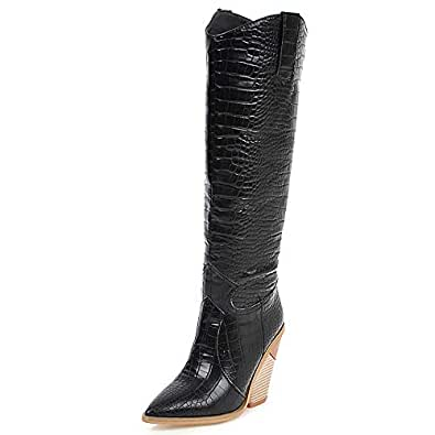 TAOFFEN Women Retro Western Boots Wedge Heels Long Boots Pointed Toe Autumn Boots Black Size 34 Asian