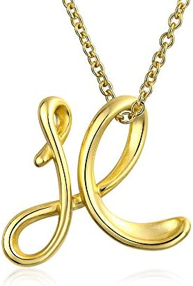 Personalize Abc Script Letter Alphabet Pendant Initial Necklace For Teen Women 14K Gold Plated 925 Sterling Silver