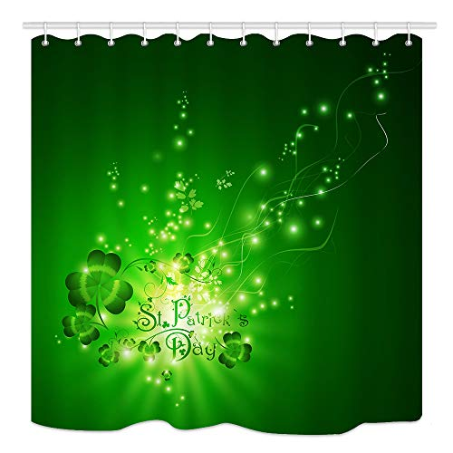St.Patrick Day Shower Curtain, Shamrocks Over Green Magic Backdrop, Waterproof Polyester Fabric Bathroom Decor, Bath Curtains Accessories, with Hooks, 69X70 -
