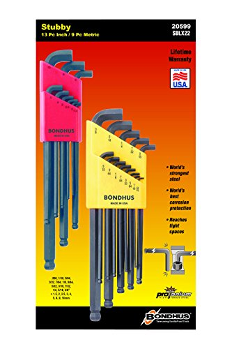 Bondhus 20599 0.050-3/8-Inch and 1.5-10mm Stubby Ball End Hex Key Double (Best Bondhus Wrench)