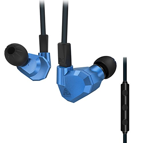 Quad Driver Headphones,KZ ZS5 High Fidelity Extra Bass Earbuds with Remote and Mic,with Detachable Cable,Metallic Blue