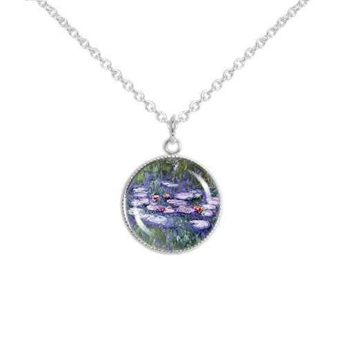 Monet Silver Necklace - Autumn's Glory Floating Flowers Pink Water Lilies Monet 3/4