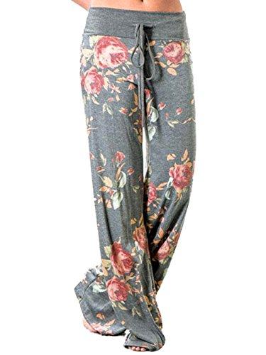 Pants Stripes Comfy (Spmor Womens Comfy Yoga Long Pants High Waist Floral Printed Trousers Casual Loose Lounge Pants Light Grey Medium)